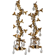REDUCED Pair Italian Gilt Leaf Candle Sconces with Crystals