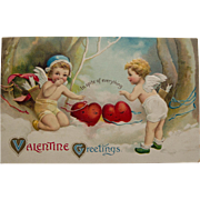 SOLD Valentine Postcard with Cherubs