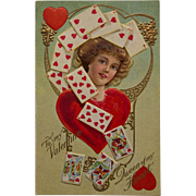 SOLD Valentine postcard- Queen of Hearts