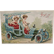 SOLD Early Century Valentine with Cherubs in Car