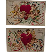 Pair Valentine Postcards, Satin Hearts and Cherubs