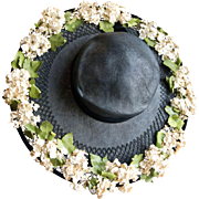 Vintage 1930's Black Woven Wide Brim Hat w/Flowers