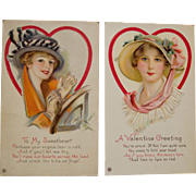 Pair Early Century Valentine Postcards