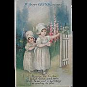 Charming Easter Postcard, Little Girls in Garden