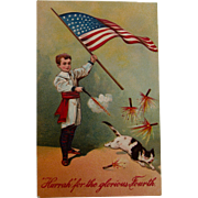 SOLD 4th of July Postcard with Cat and Fireworks