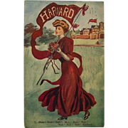 SALE PENDING Harvard Girl Postcard, 1909