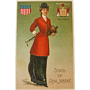 Early Century New Jersey State Girl Postcard