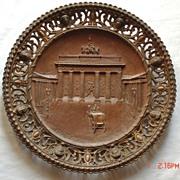 Berlin Commemorative Metalware Plate- Brandenburg Thor, 19th century