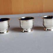 REDUCED Set of 3 Sterling and Cobalt Salt Cellars