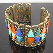 SALE Poured Glass Hinged Cuff Bracelet