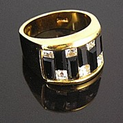SALE Dramatic 18K Gold Fill Black Baguette and Clear Rhinestone Ring