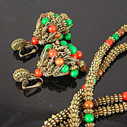 SALE Hattie Carnegie Circa 1960's Red, Green, and Brown Bead in Antiqued Gold Tone Chandelie