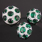 SALE Jomaz Domed Emerald Rhinestone Brooch & Earrings
