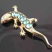 SALE Coro Craft 1940's Sterling Salamander Brooch