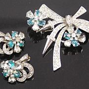 SALE Pennino Sterling Rhinestone Brooch & Earrings