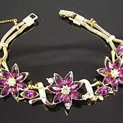 SALE Kramer Purple Rhinestones & Baguettes Flower Bracelet