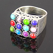 SALE Sterling Silver Pink, Purple, Red, Green, Blue Cabochons Ring