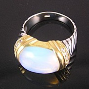 SALE Sterling Silver Faux Moonstone, Rhinestones, Enamel, with Gold-Plated Accents Ring