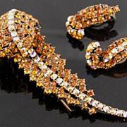 SALE Hollycraft Amber & AB Rhinestone Feather Fur Clip & Earrings
