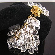 SALE Spectacular Bohemian Glass Crystal 6-Strand Elaborate Clasp Brass Bracelet