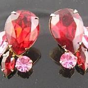 SALE Beau Jewels Red & Pink Rhinestone Earrings