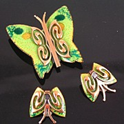 SALE Matisse 1950's Green Enameled Copper Butterfly Brooch & Earrings
