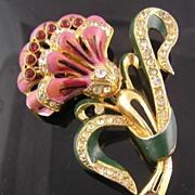 SALE Coro Enamel & Rhinestone Lavender Flower Brooch