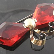 SALE Red Retro Vermeil Bow Brooch