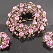 SALE Perfectly Pink Warner Richelieu Wreath Brooch & Earrings