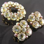 SALE Lovely Swarovski Crystal Fuchsia Aurora Borealis Brooch & Clip Earrings