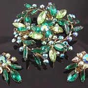 SALE Airy Green & Aurora Borealis Rhinestone Flower & Leaves Brooch & Earrings