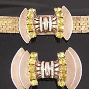 SALE Sceptron Sterling Vermeil Bow Bracelet & Brooch