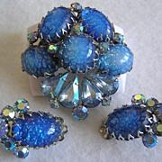 SALE Coro Blue Foil Art Glass & Aurora Borealis Brooch & Earrings-Beautiful!