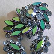 SALE Coro Teal Purple Aurora Borealis & Pastel Rhinestone Brooch & Earrings