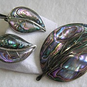 SALE Mexican 925 Sterling Silver Pre-Eagle Abalone Leaf Brooch and Earrings