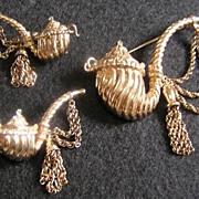 SALE Nettie Rosenstein Sterling Silver Pipe Brooch & Earrings