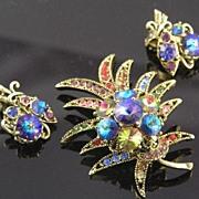SALE Luscious Weiss Rivoli Rhinestone Harlequin Brooch & Earrings