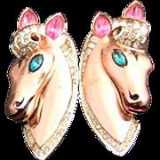 Sterling Vermeil 1943 Adolph Katz Patent Coro Craft Pink, Aqua, and Clear Rhinestone & Enamel