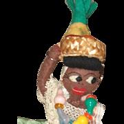 Black folk art topsy turvy doll