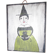 SOLD Folk art halloween Witch painting