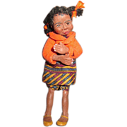 SOLD Black miniature doll  Darling OOAK