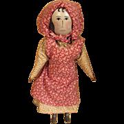 Vintage charming wooden primitive  doll