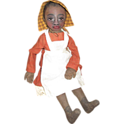 SOLD Beautiful Black doll painted cloth OOAK