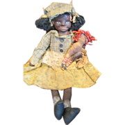 Primitive sculpted cloth Black doll OOAK