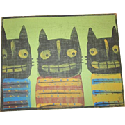 Halloween Folk art Cats painting original
