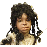 """Charming Black doll 24"""" all bisque by Judy Kapron"""