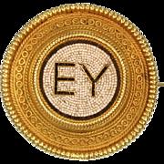 Micromosaic 18K yellow gold pin by Castellani