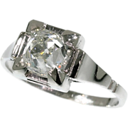 SALE Art Deco diamond platinum engagement ring with high domed cushion cut old mine or ...