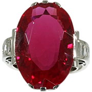 SALE Large Ruby Ring Diamond Platinum 18K White Gold French Art Deco c.1920