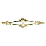 SALE French antique Victorian bar brooch with black enamel pearls and rock crystal 18K yellow